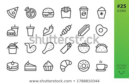 Sosisli sandviç hat ikon vektör yalıtılmış beyaz Stok fotoğraf © RAStudio