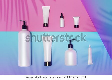 realistic plastic cosmetic bottles mock up bundle stock photo © frimufilms