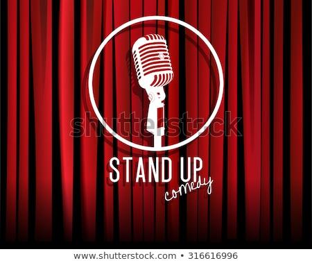Színpad piros függöny retro mikrofon nyitva Stock fotó © popaukropa