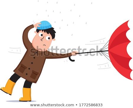 ventoso · dia · homem · seis · guarda-chuva · isolado - foto stock © tiKkraf69