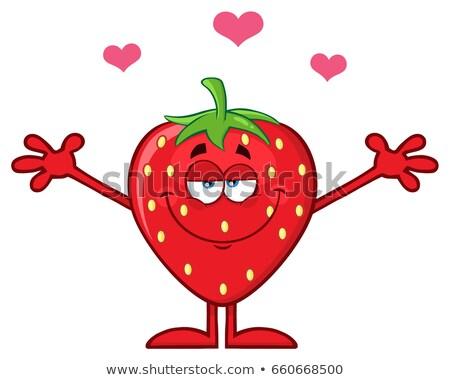 Fresa frutas mascota de la historieta carácter corazones abierto Foto stock © hittoon