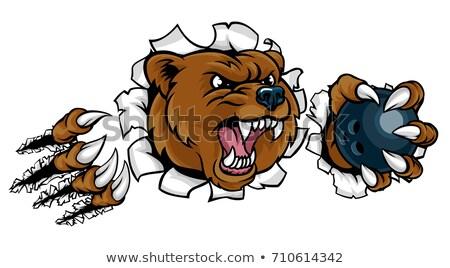 bear holding bowling ball breaking background stock photo © krisdog