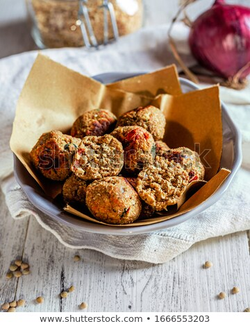 Vegan húsgombócok felszolgált kicsi serpenyő labda Stock fotó © vertmedia