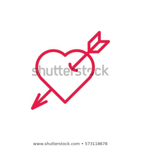 Rojo corazones icono delgado línea corazón Foto stock © olehsvetiukha