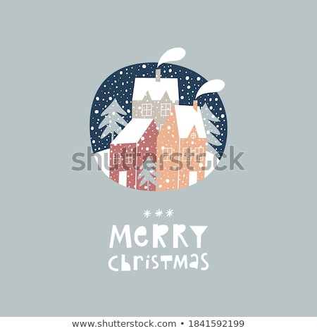 Merry Christmas greeting card design with country landscape Stock photo © Margolana