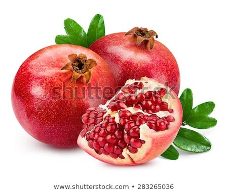 Foto stock: Granada · aislado · blanco · alimentos · hoja · frutas