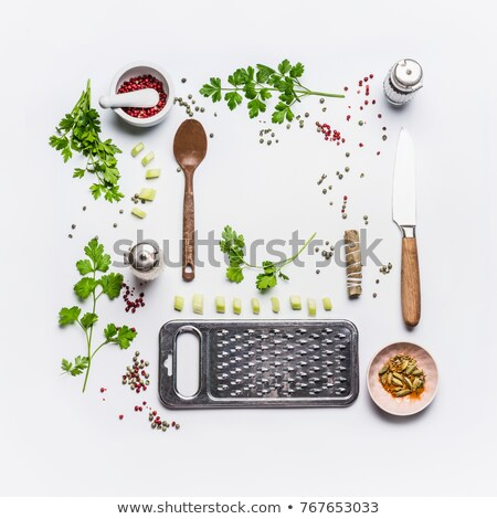 creative layout of spoons with spices stock photo © dash