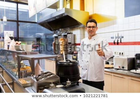 chef at kebab shop showing thumbs up Stock photo © dolgachov