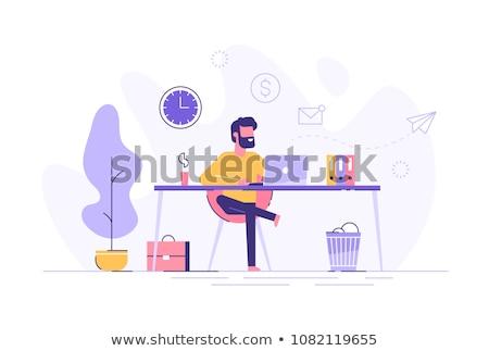 hombre · 3d · de · trabajo · portátil · 3d · persona · línea - foto stock © dolgachov