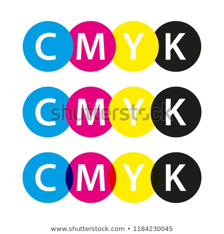 Vector cmyk symbols, cyan, magenta, yellow and black colors, logos for your infographics and busines stock photo © kurkalukas