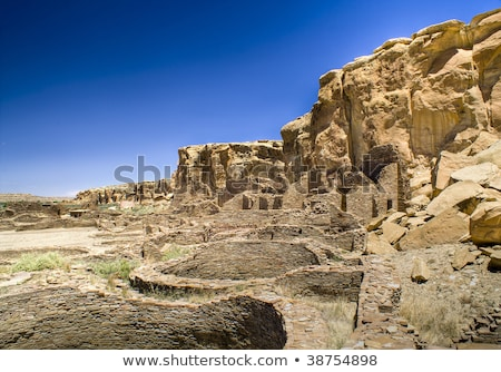stone wall chaco canyon stock photo © fotogal
