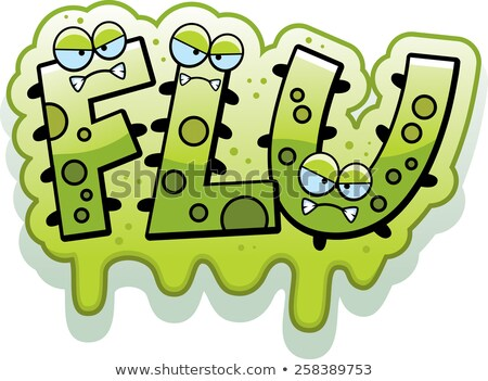 Karikatur schleimig Grippe Fehler Text Illustration Stock foto © cthoman
