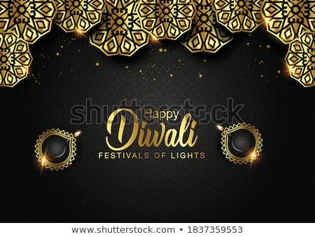 beautiful golden diwali diya festival background stock photo © sarts