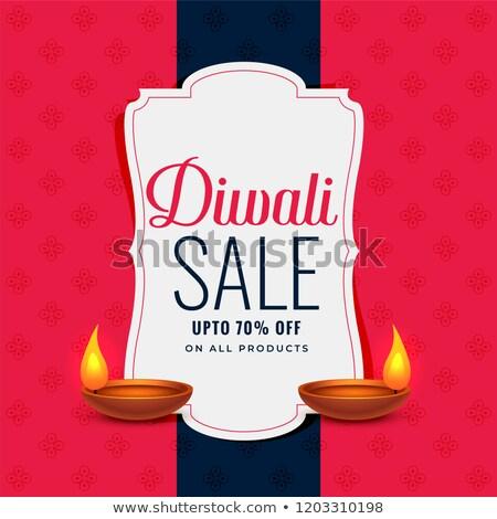trendy diwali sale banner with two diya lamps Stock photo © SArts