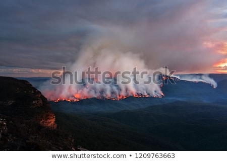 Mount Solitary bush fire burning at dusk Stock photo © lovleah