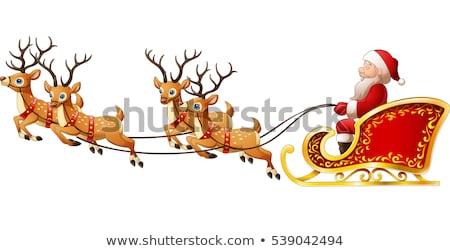 santa claus sleigh with moose christmas reindeer vector stock photo © beaubelle
