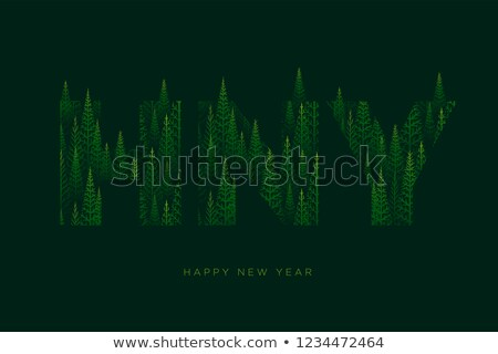 H, N, Y letters with pine tree forest illustration for Happy New Stock photo © sgursozlu