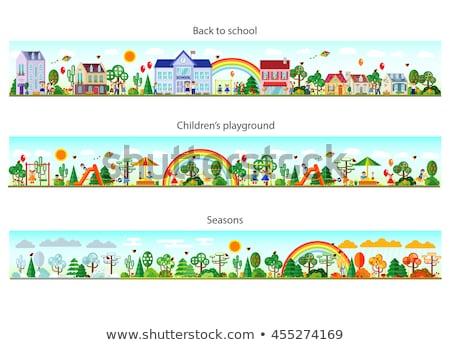 Stockfoto: Winter · stad · ontwerp · stijl · kleurrijk · illustratie