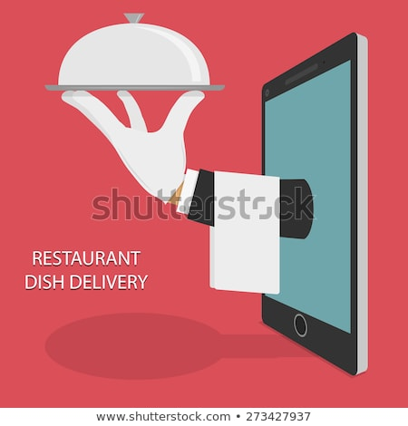 Isometric flat vector concept of food home delivery, online ordering. Stock photo © TarikVision