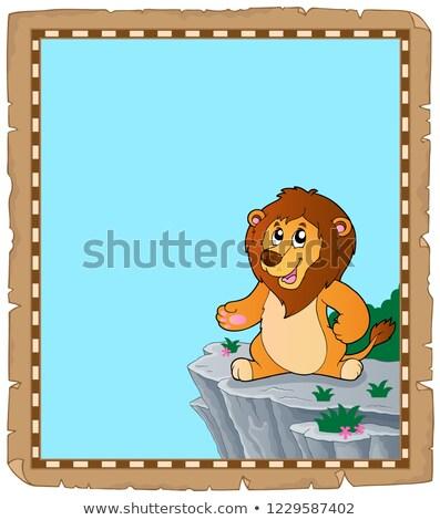 Löwen Pergament Papier glücklich Katze Kunst Stock foto © clairev