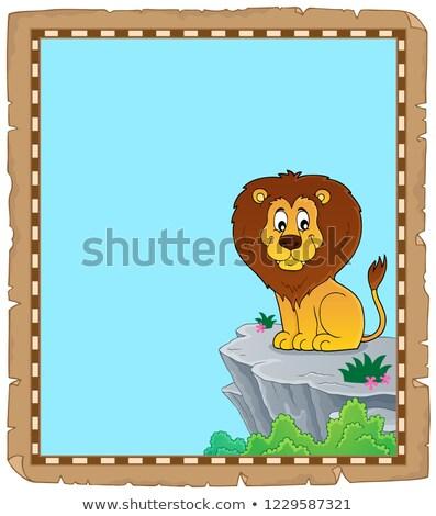 Leão pergaminho papel gato arte rocha Foto stock © clairev