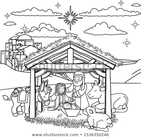 cartoon christmas nativity scene coloring stock photo © krisdog