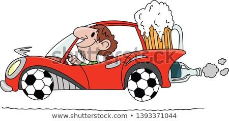 Desenho animado bêbado jogador de futebol olhando futebol bola Foto stock © cthoman