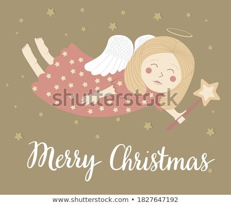 Christmas engel hemel nachtelijke hemel stad bomen Stockfoto © liolle