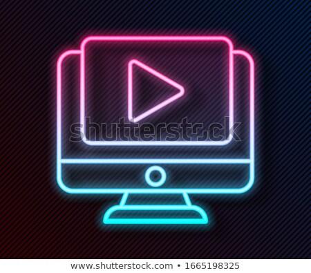 Taśmy filmowej grać neon kina promocji świetle Zdjęcia stock © Anna_leni