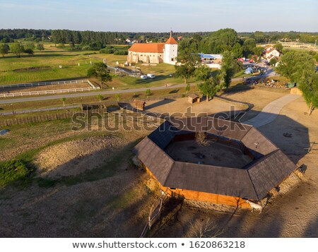 Djurdjevac old town and green landscape aerial view stock photo © xbrchx