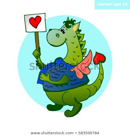 Cartoon · динозавр · любви · знак · иллюстрация - Сток-фото © bennerdesign