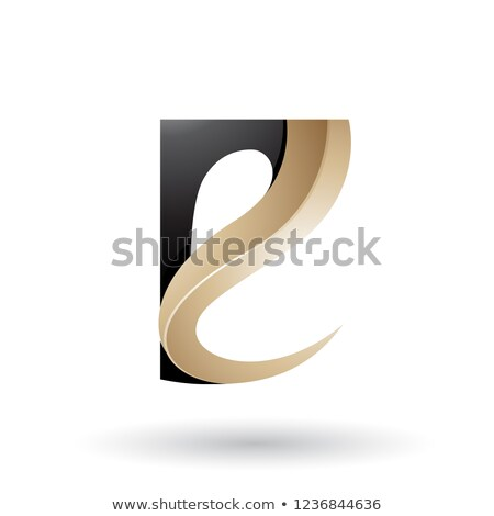 Black and Beige Glossy Curvy Embossed Letter E Vector Illustrati Stock photo © cidepix