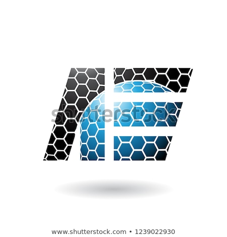 Black and Blue Letter E with Honeycomb Pattern Vector Illustrati Stock photo © cidepix