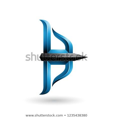 Blauw zwarte boeg pijl vector illustratie Stockfoto © cidepix