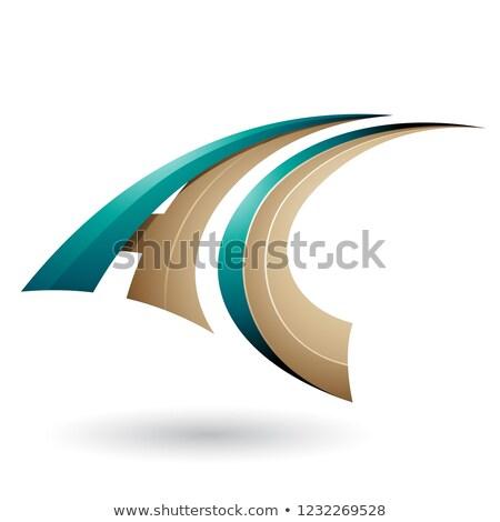 Yeşil bej dinamik uçan c harfi vektör Stok fotoğraf © cidepix