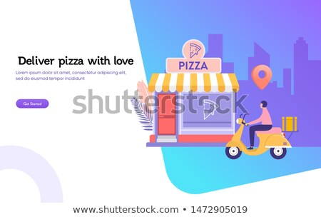 pizza · kutusu · pizza · teslim · kutuları · kâğıt · restoran - stok fotoğraf © jossdiim