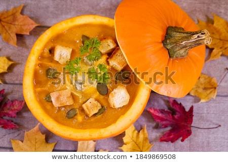 sütőtök · krém · leves · ősz · vegetáriánus · fa · asztal - stock fotó © karandaev