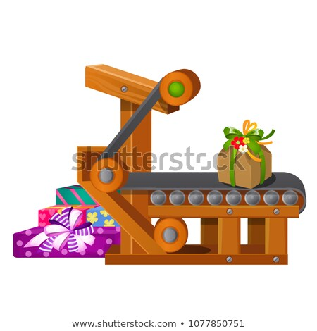 Belt conveyor isolated on a white background. Vector cartoon close-up illustration. Stock photo © Lady-Luck