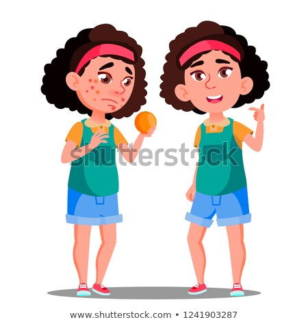 Allergic Reaction, Sad Girl With Red Spots Holding An Orange Vector. Isolated Cartoon Illustration Stock photo © pikepicture