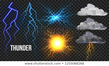 Thunder, Lightnigs Set Vector. Bolt, Night Sky Magic Bright Sparkle Effect. Fireball, Rain, Cloudy.  Stock photo © pikepicture