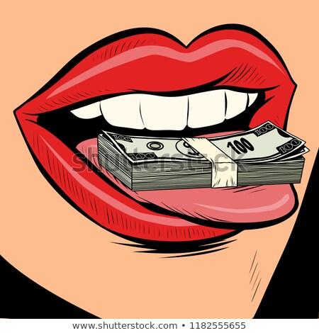 деньги долларов женщины языком рот комического Сток-фото © rogistok