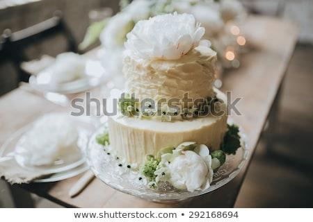 свадебный торт украшенный чердак стиль таблице свадьба Сток-фото © ruslanshramko