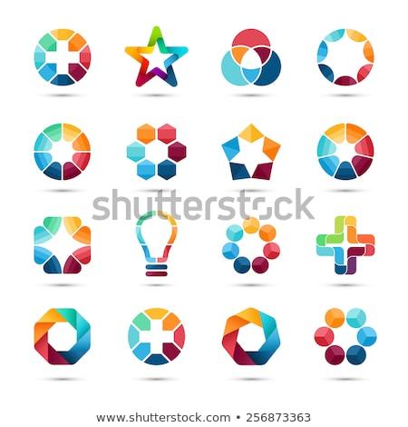 Színes Pentagon csillag mértani vektor logo Stock fotó © blaskorizov