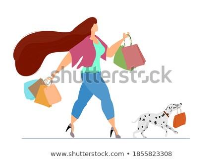 female shopaholic walking with pet dog vector stock photo © robuart