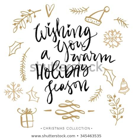 warm wishes holidays joy merry christmas lettering stock photo © robuart