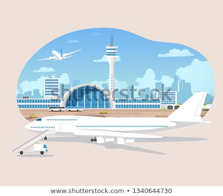 Airport Terminal building and airplanes on runway Stock photo © MarySan