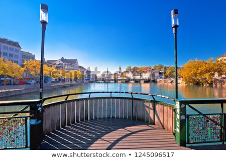 Limmat river in Zurich idyllic autumn view Stock photo © xbrchx