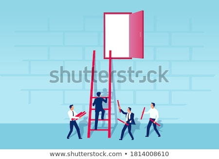 Businessman climbing a ladder to escape from problems Stock photo © Elnur