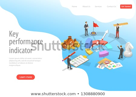 key performance indicator flat isometric vector landing page template stock photo © tarikvision