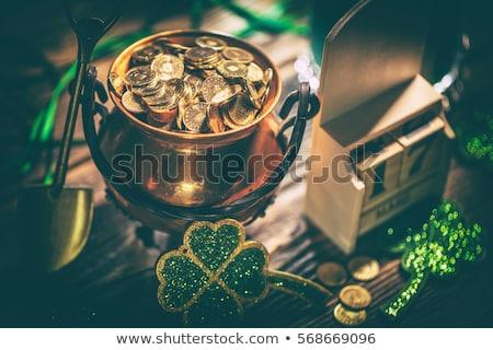 Jour de St Patrick still life chaudron pièces d'or vert bière Photo stock © grafvision